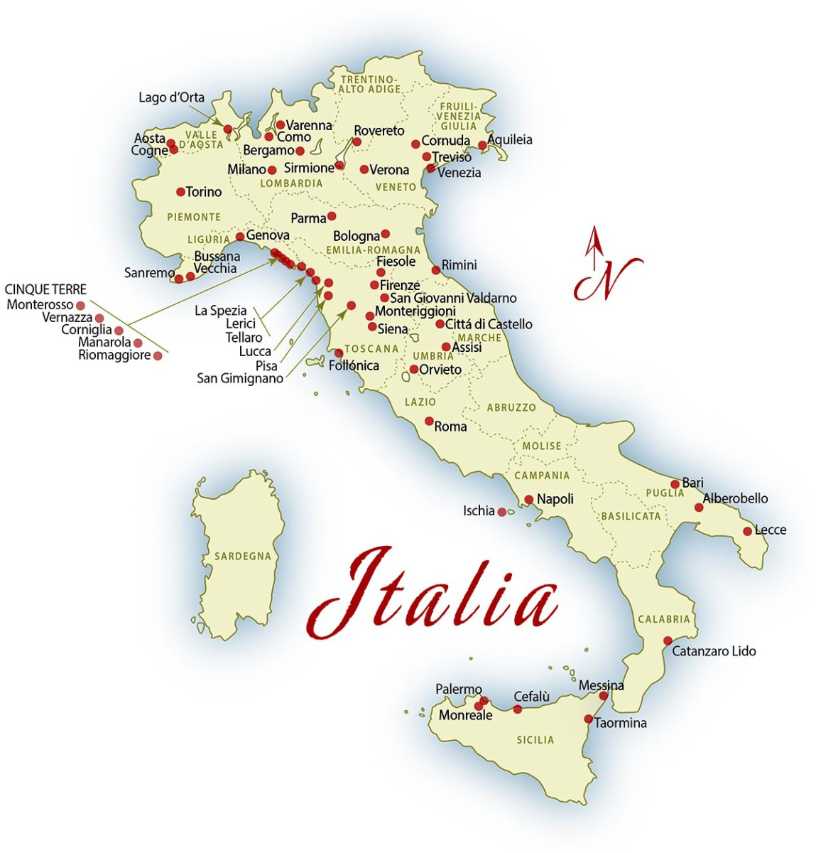Map of places visited in Italy