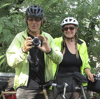 PETE & ERIN - From Australia. We met on the bike trail in the morning, and they slept on my fold-out bed that night! They were biking around Europe for 6 months and relying on the kindness of strangers.