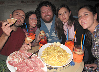 "MARZIA & FRIENDS - From Italy (Sicily), Russia and ? Marzia's on the right and after we had gone out for ""apperitivi"", we met up with her friends at another restaurant."