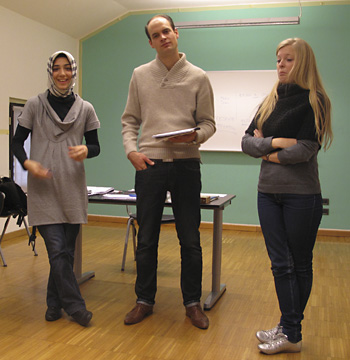 OZDAN, SEBASTIAN & EMILY - From Turkey, Germany & Australia. They were doing a skit in our Italian language class.