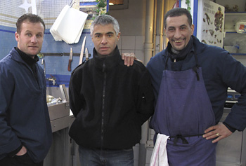 SAM, PATRICK & MOMO - From France and ? These three were fishmongers down the street from my hotel in Paris. Patrick, in the middle, speaks some Spanish, so between that and sign-language, we all had some laughs.
